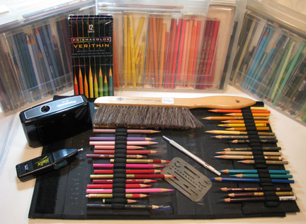 Photo of Sandy's colored pencils and drawing tools.