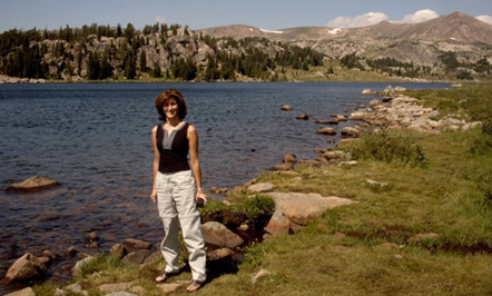 Artist Sandy Phifer near Yellowstone Park in Montana